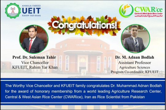CWARice headquartered in Rasht, Iran awarded honorary membership to Dr. Muhammad Adnan Bodlah Asst Professor, KFUEIT