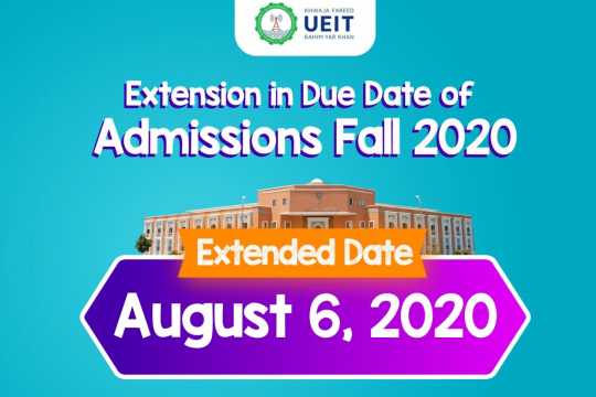 Extension in Due Date of Admission Fall 2020